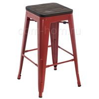 Барный стул Tolix Bar wood CColl T-2103B-26 red / brown walnut